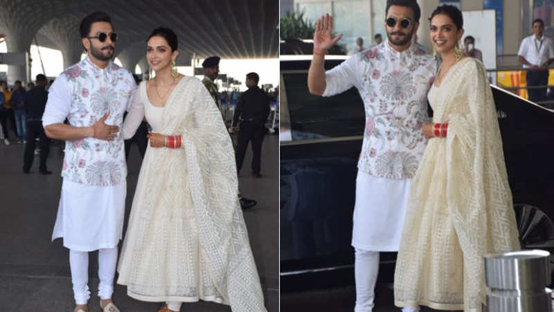 Deepika Padukone and Ranveer Singh look amazing in their colour coordinated attire