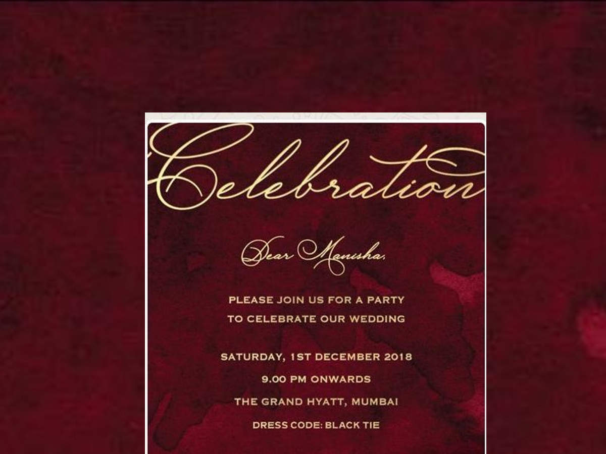 Deepika Padukone and Ranveer Singh party invitation card photos, images,  pictures: Here's Deepika Padukone and Ranveer Singh's wedding celebration party  invitation card for Bollywood celebs