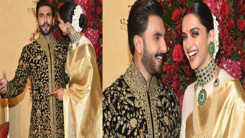 Deepika Padukone and Ranveer Singh arrive for their reception, pose for media