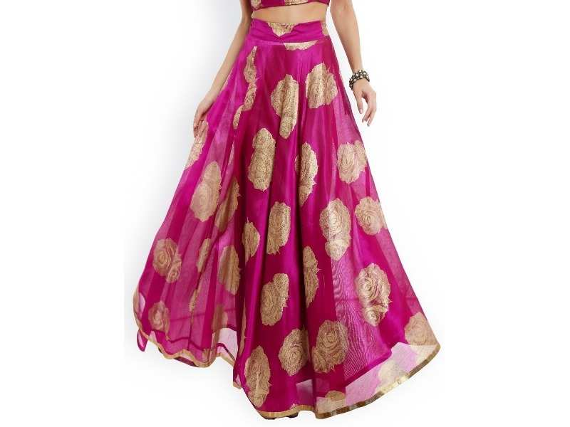 3eab7d92a This beautiful pink floral printed flared maxi skirt comes with a flared  hem that you'll just love to twirl. Team it with an off-gold blouse and you'll  end ...