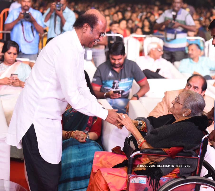 Rajinikanth and Dhanush attend a concert organised by Latha Rajinikanth