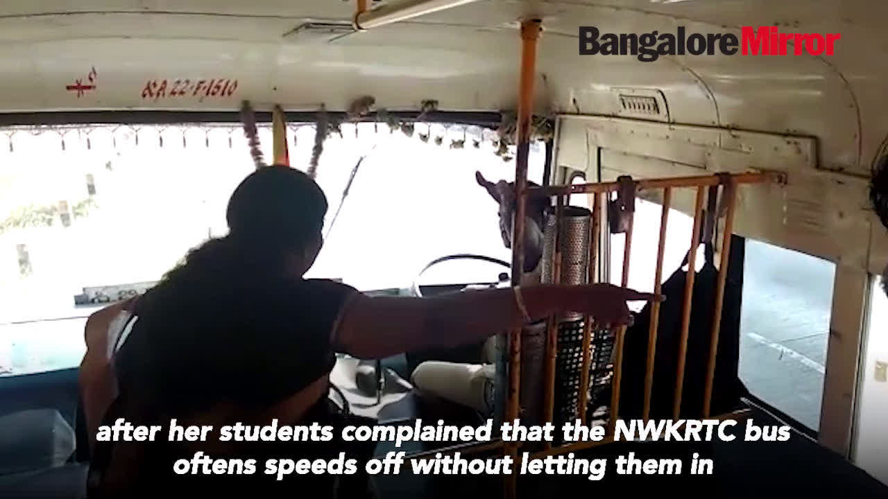Video: Teacher gives NWKRTC bus driver and conductor a lesson in Belagavi bus