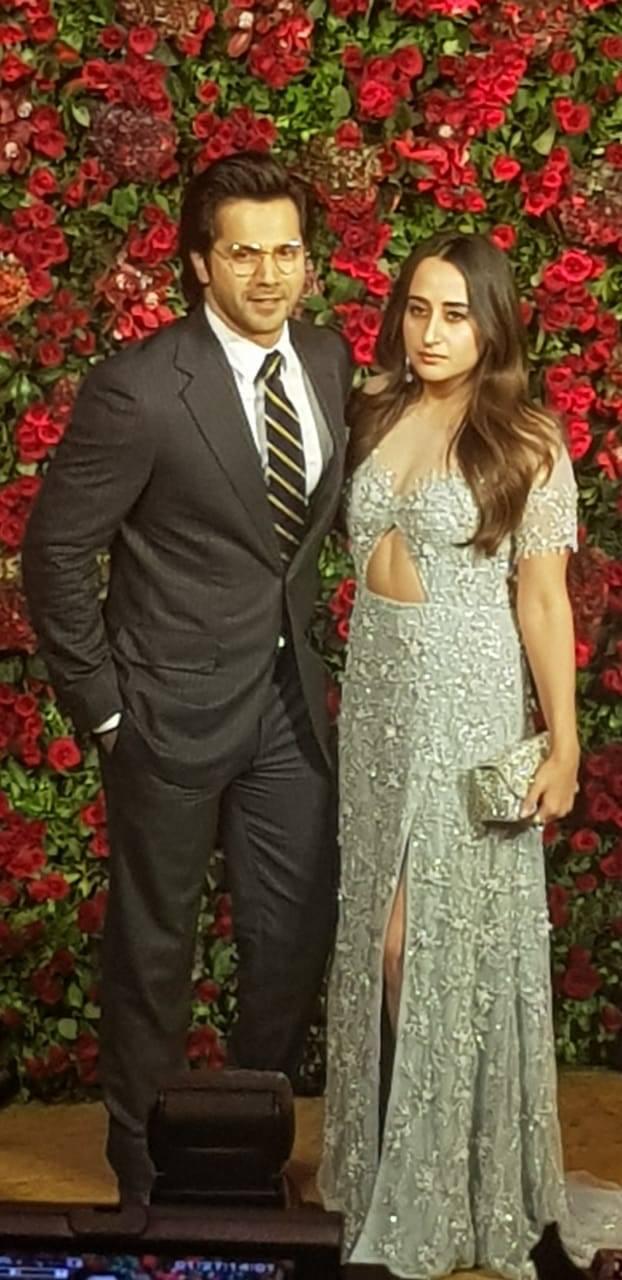 Varun Dhawan and Natasha Dalal at Ranveer Singh and Deepika Padukone wedding celebration party
