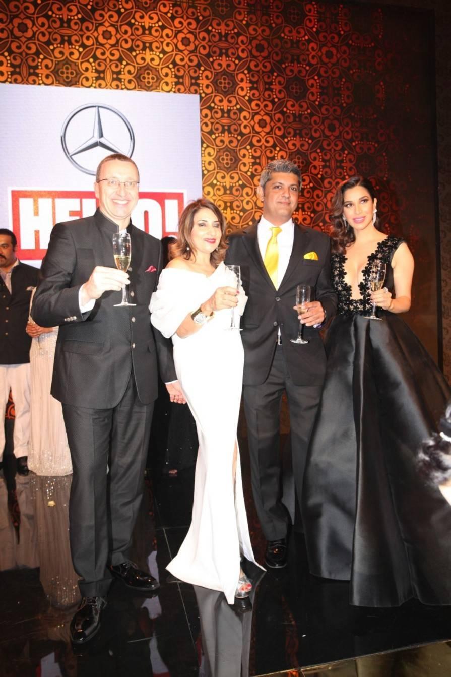 L-R - Martin Schwen, Mercedes Benz India MD & CEO, Ruchita Mehta, Editor HELLO! India, Deepak Lamba, CEO, Worldwide Media, Singer Sophie Choudry