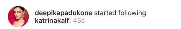 Deepika Padukone starts following Katrina Kaif