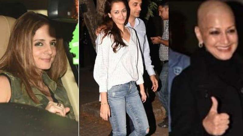 Hrithik Roshan's ex-wife Sussanne, Gayatri Oberoi meet Sonali Bendre in Mumbai
