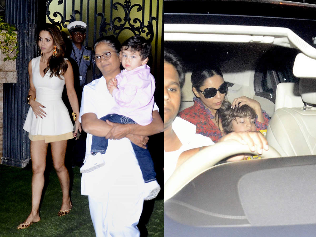 Photos: Taimur Ali Khan and AbRam Khan look cute as they attend a birthday party - Cute star kids of Bollywood    The Times of India