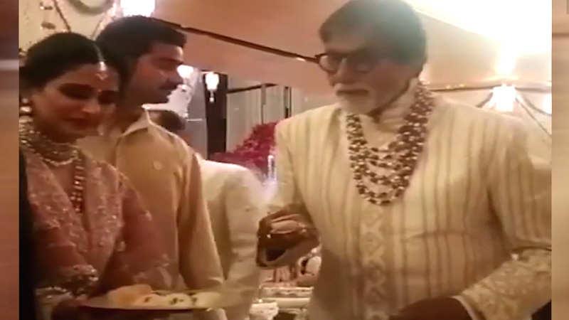 Watch: Amitabh Bachchan serves food at Isha Ambani's wedding
