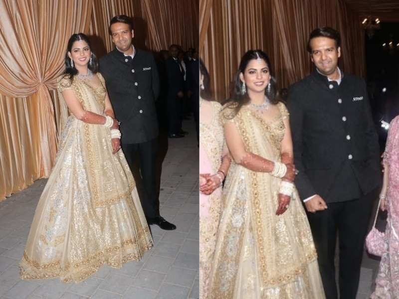 20316c78f31 Isha Ambani looked nothing short of dreamy during her wedding festivities  and the diva has done it yet again. She opted for gold-toned ensembles  throughout ...
