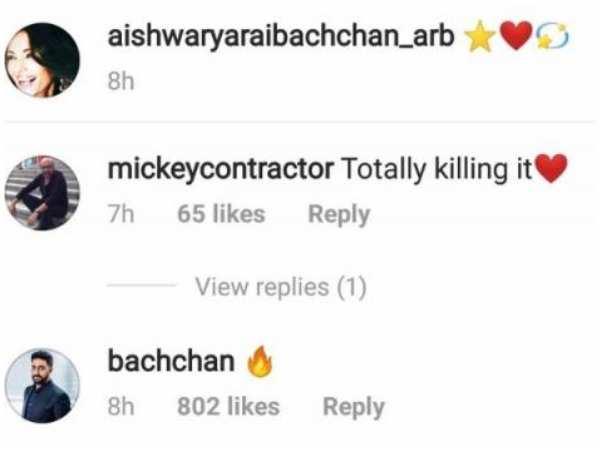 Abhishek Bachchan leaves a cute comment on Aishwarya Rai
