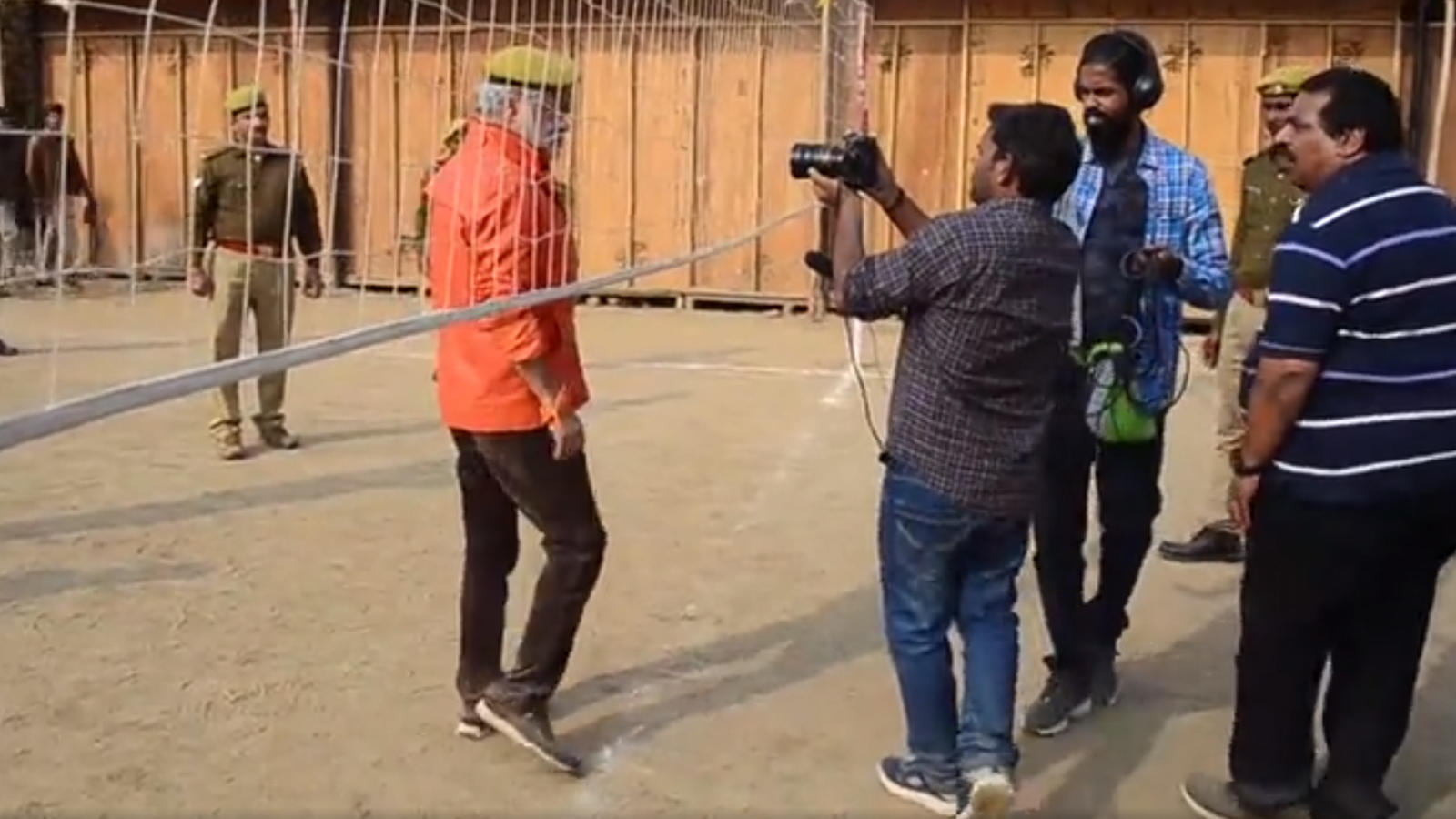 Actor Sanjay Mishra shoots for a short film for UP Police for Kumbh