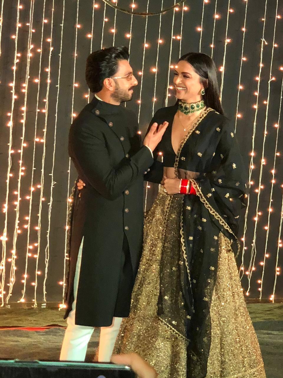 Ranveer Singh And Deepika Padukone Twin In Black As The Attend Priyanka Chopra Nick Jonas Bollywood Reception Hindi Movie News Times Of India