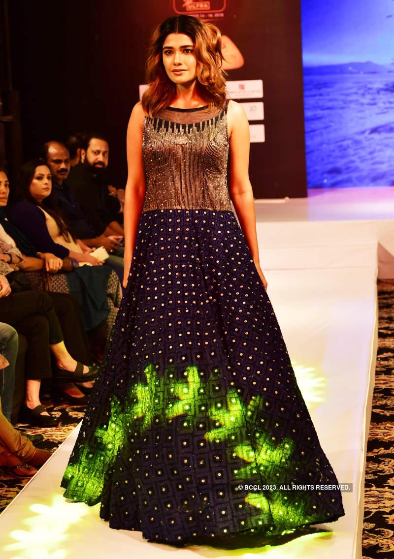 Aanchal Munjal and Sana Althaf walk the ramp at an International Fashion Week
