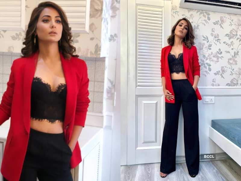 Hina Khan Turns Heads In A Hot Red And Black Attire On Christmas