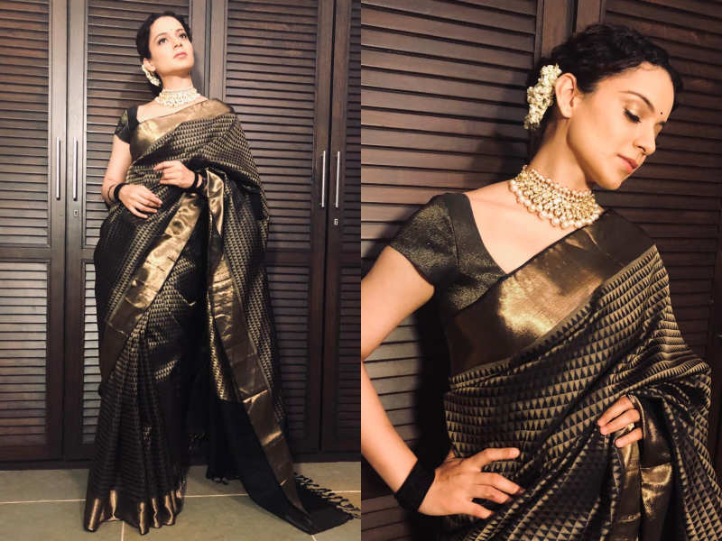 Photos: Kangana Ranaut looks extremely gorgeous in this saree gifted to her  superstar Rekha ji