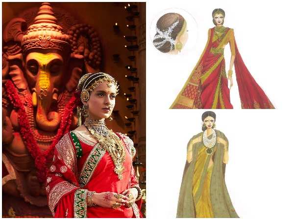 Kangana Ranaut as Manikarnika and (right) sketches of her looks in the film
