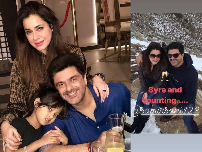 Neelam Kothari pose for a sweet picture with her husband ...