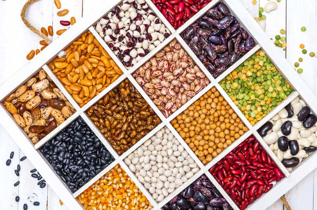 Variety of beans and legumes
