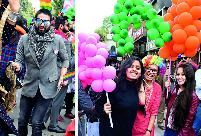 (L) Abeer (R) Members of the LGBTQIA community (BCCL/ Farhan Ahmad Siddiqui) a couple kissing during the parade