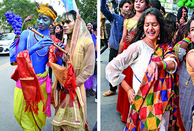 (L) Ajay and Anukool as Lord Krishna and Radha (R) A members of the LGBTQIA community (BCCL/ Farhan Ahmad Siddiqui)