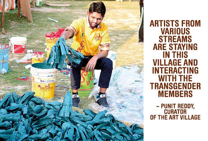 Waste water bottle being used to make an installation (BCCL/ Pankaj Singh)