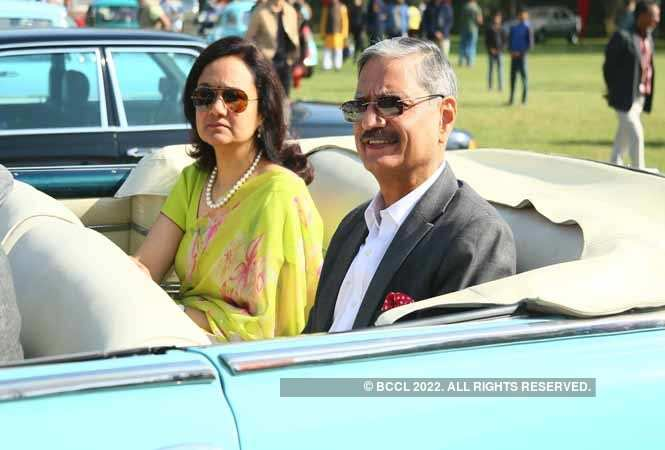 Rajasthan DGP Kapil Garg and his wife enjoying a ride in a vinatge car
