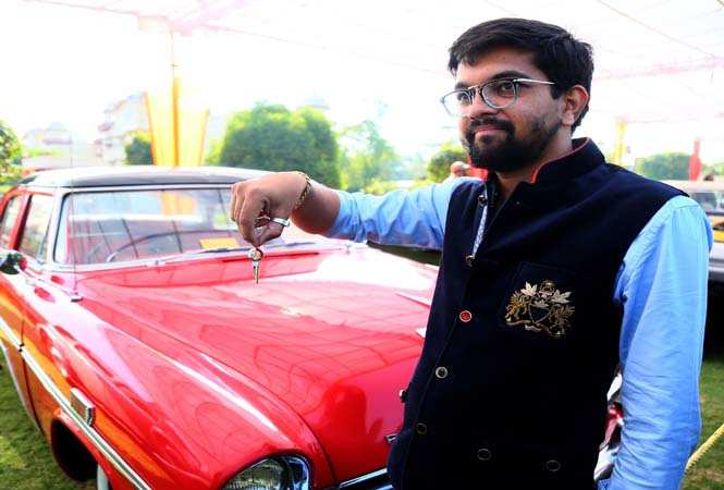 Gaurav Nahata, a participant showing his car key studded with diamonds