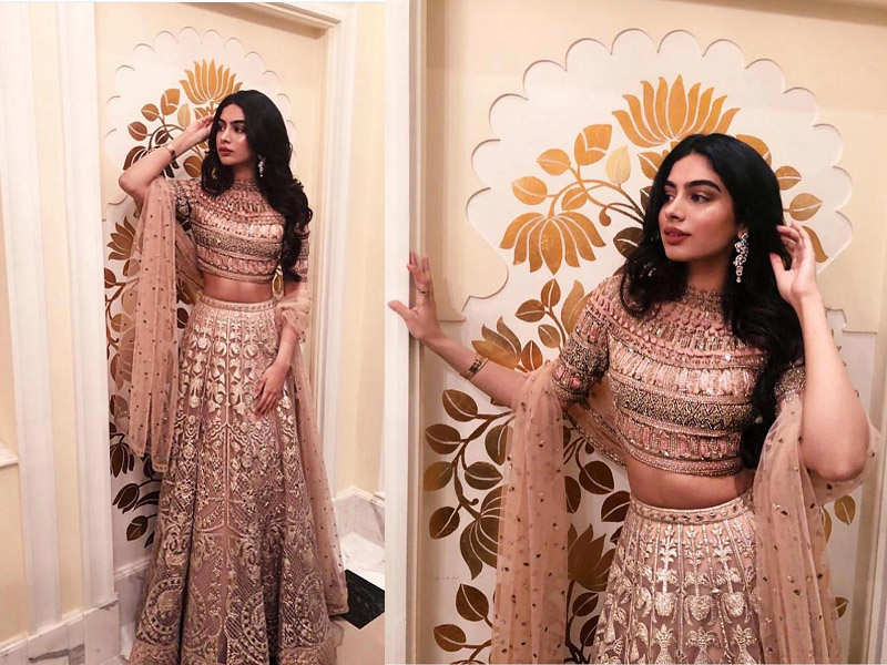 Khushi Kapoor donning a rose gold lehenga will give you some 'wedding season' feels