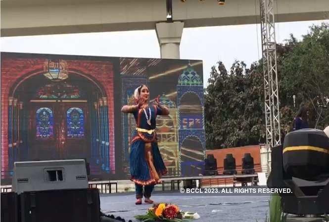 A student performing Bharatnatyam