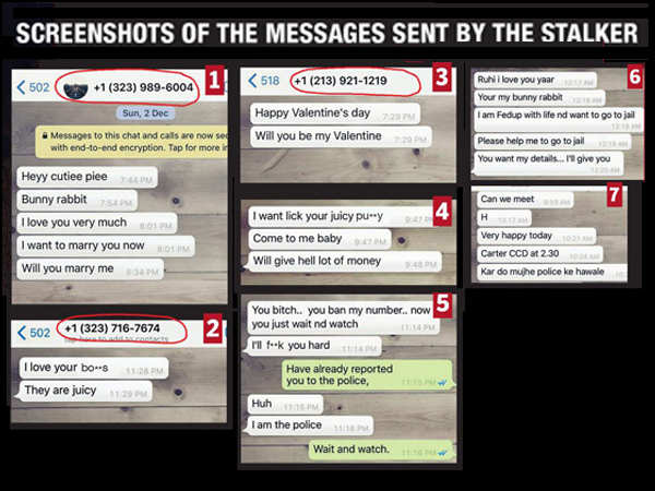 Screenshots of the messages sent by the stalker
