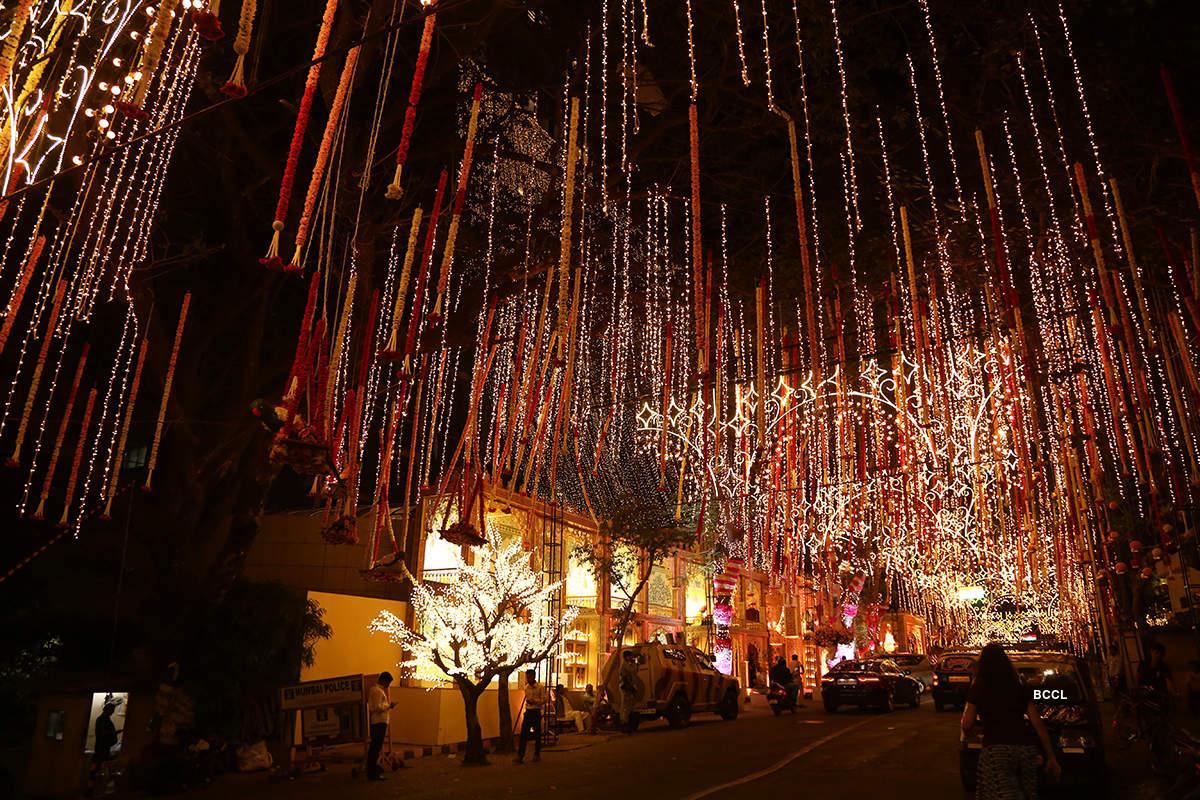 Antilia is all lit up, decorated with flowers for Akash Ambani and Shloka Mehta's grand wedding
