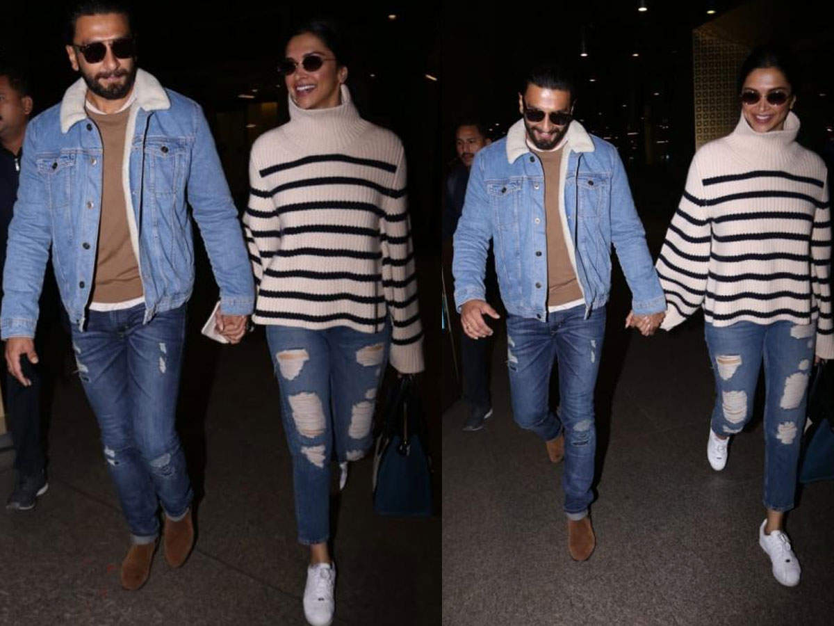 ​Photos: Ranveer Singh and Deepika Padukone are all smiles as they return from London - Ranveer Singh and Deepika Padukone: Adorable pics of the couple  | The Times of India