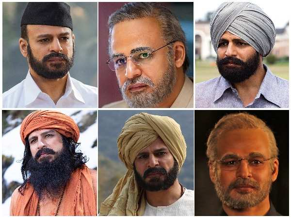 Some of Vivek Anand Oberoi's nine looks in the film