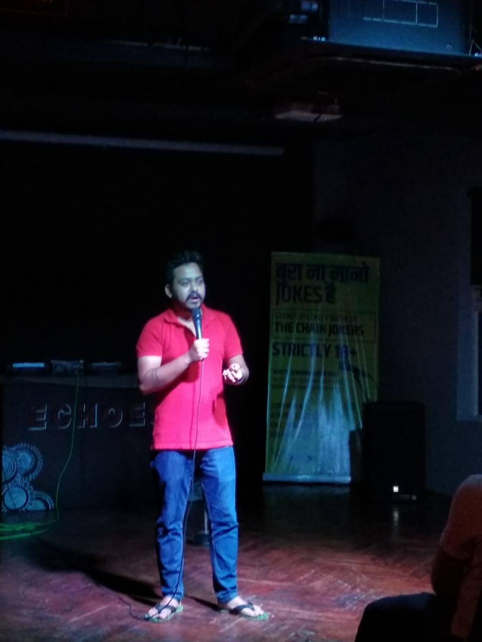 Stand up comedy- Roshan performing.