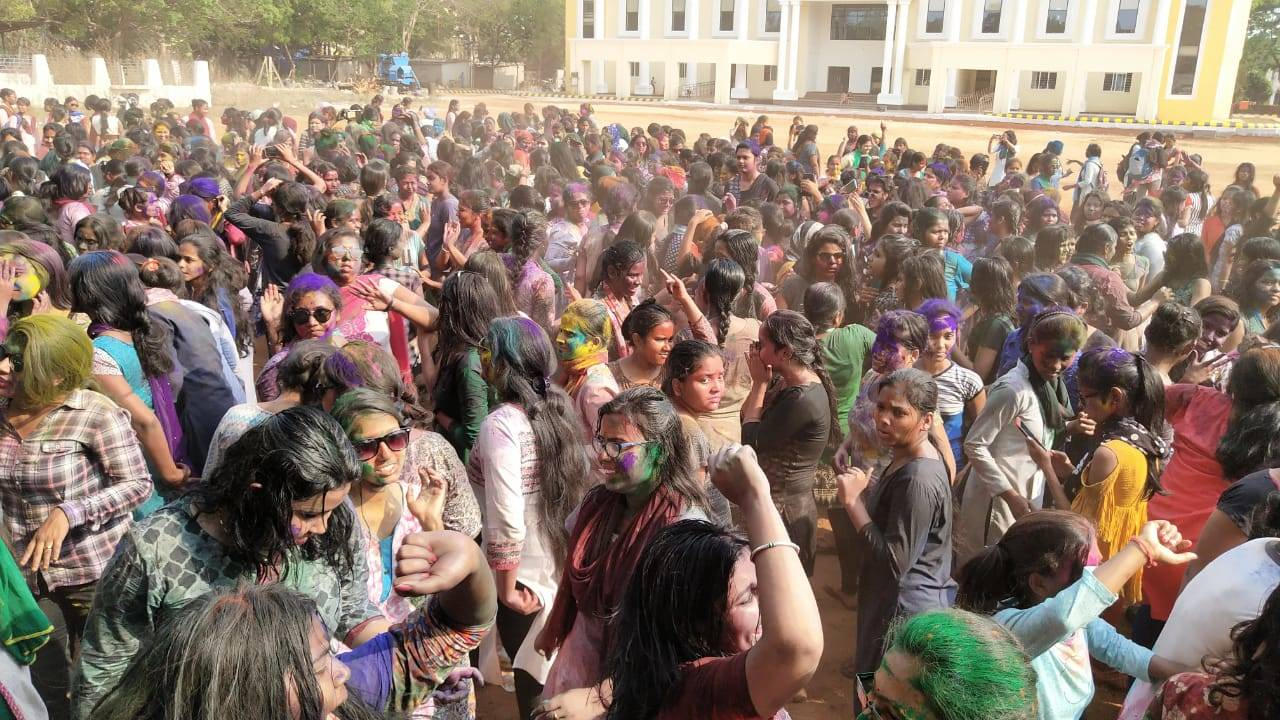 Ramadevi students play holi.
