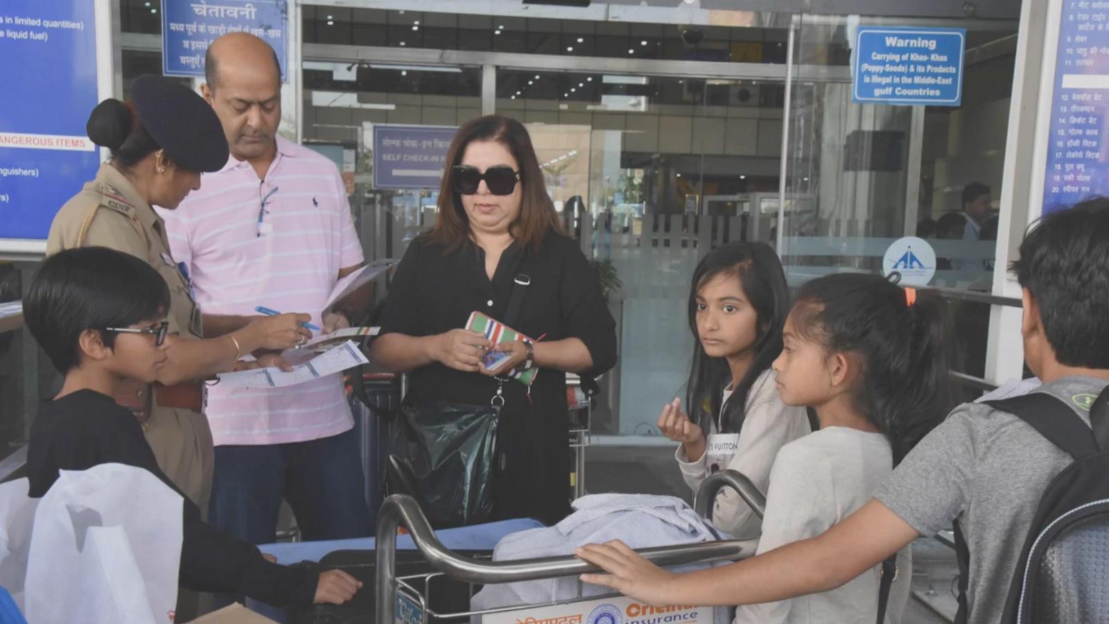 Farah Khan returns to Mumbai after holidaying in Jaipur with kids