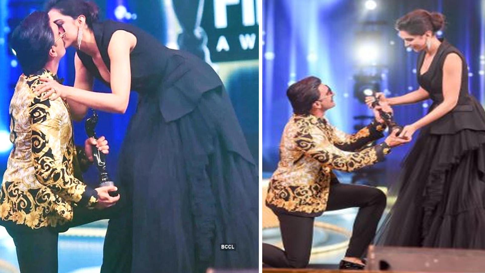 64th Vimal Elaichi Filmfare Awards 2019: Deepika Padukone kisses husband Ranveer Singh as he goes down on one knee