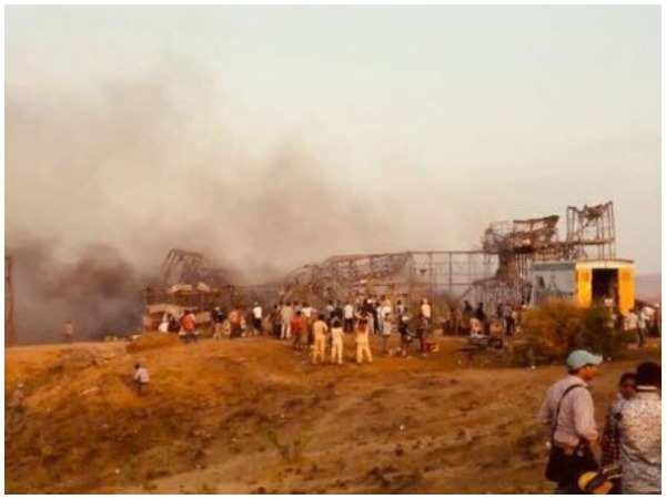 Fire-revaged set of Kesari
