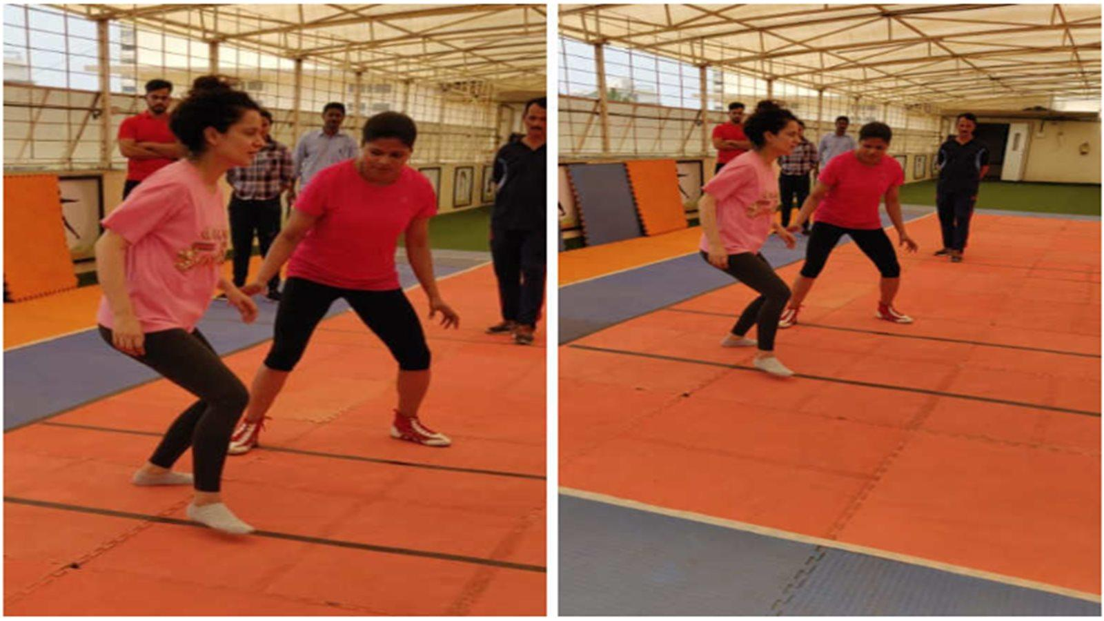 Kangana Ranaut spotted practising Kabbadi for her upcoming film 'Panga'