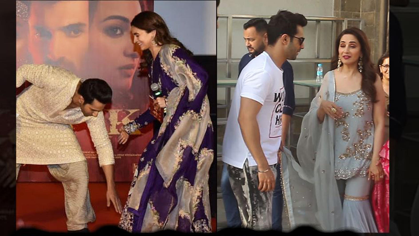 Funny! Varun Dhawan touches Alia Bhatt's feet and holds Madhuri Dixit's dupatta