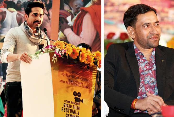 (L) Ayushmann Khurrana was the surprise guest on the occasion (R) Dinesh Lal Yadav Nirahua (BCCL/ Aditya Yadav)
