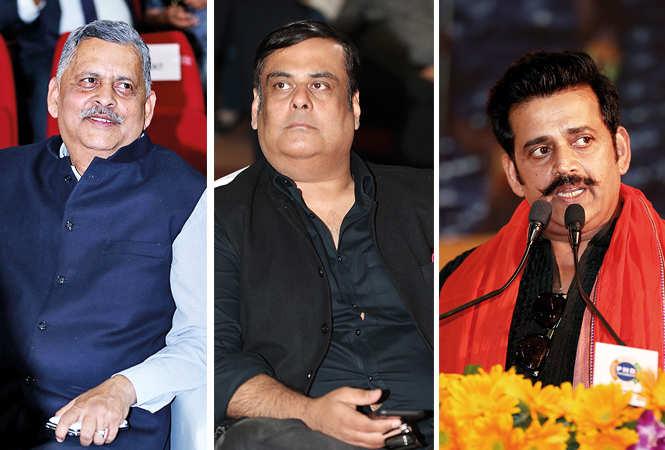 (L) RK Chaturvedi (C) Rahul Mittra (R) Ravi Kishan (BCCL/ Aditya Yadav)