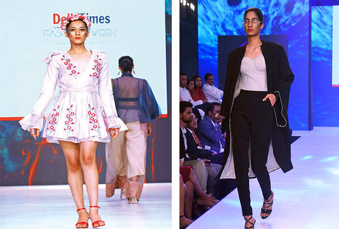 ​ Sonal Sharma, fbb Colors Femina Miss India Haryana 2019​ and Sumita Bhandari walk the ramp for students from JD Institute of Fashion Technology