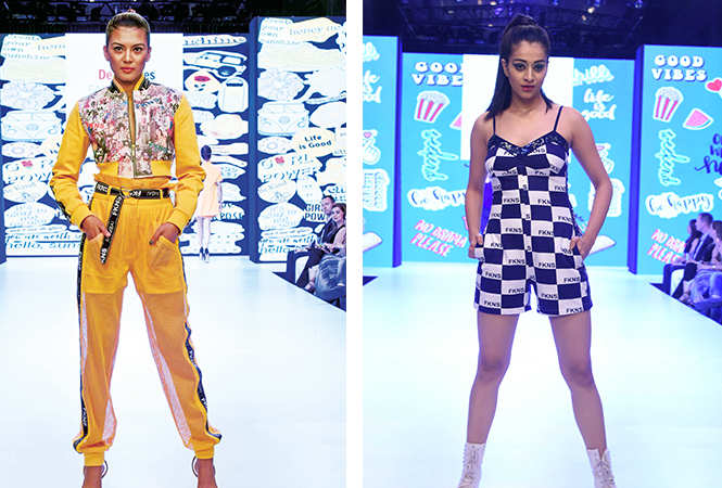 ​Parmila Chettri, fbb Colors Femina Miss India Sikkim 2018​ and Shefali Dhiman walking the ramp for Narendra Kumar