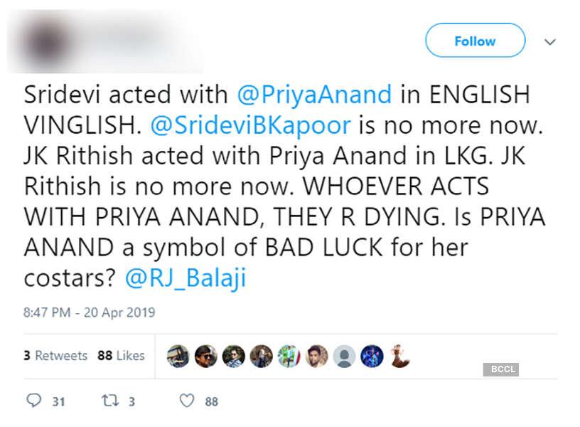 Priya Anand gets brutally trolled, haters blame her for Sridevi's demise