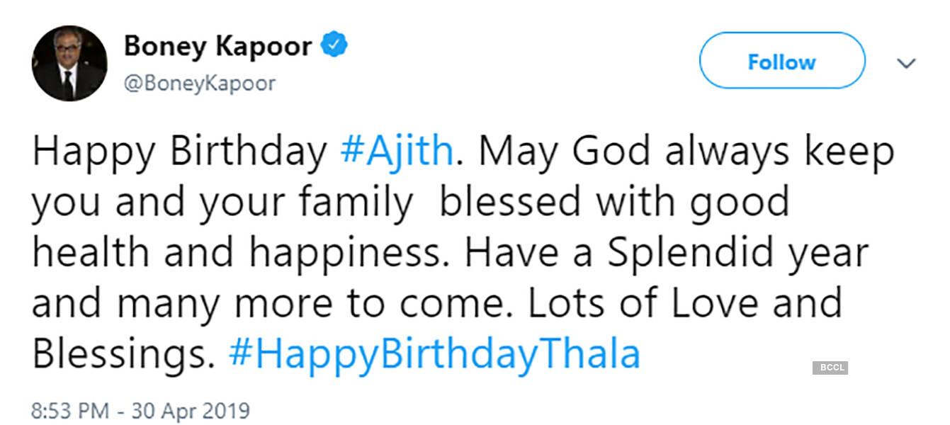 Celebrities wish Tamil superstar Ajith Kumar on his birthday