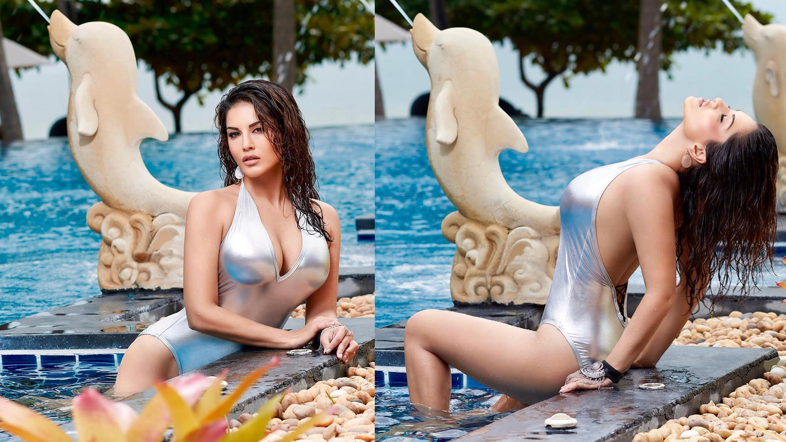 Sunny Leone looks sizzling hot in this silver monokini