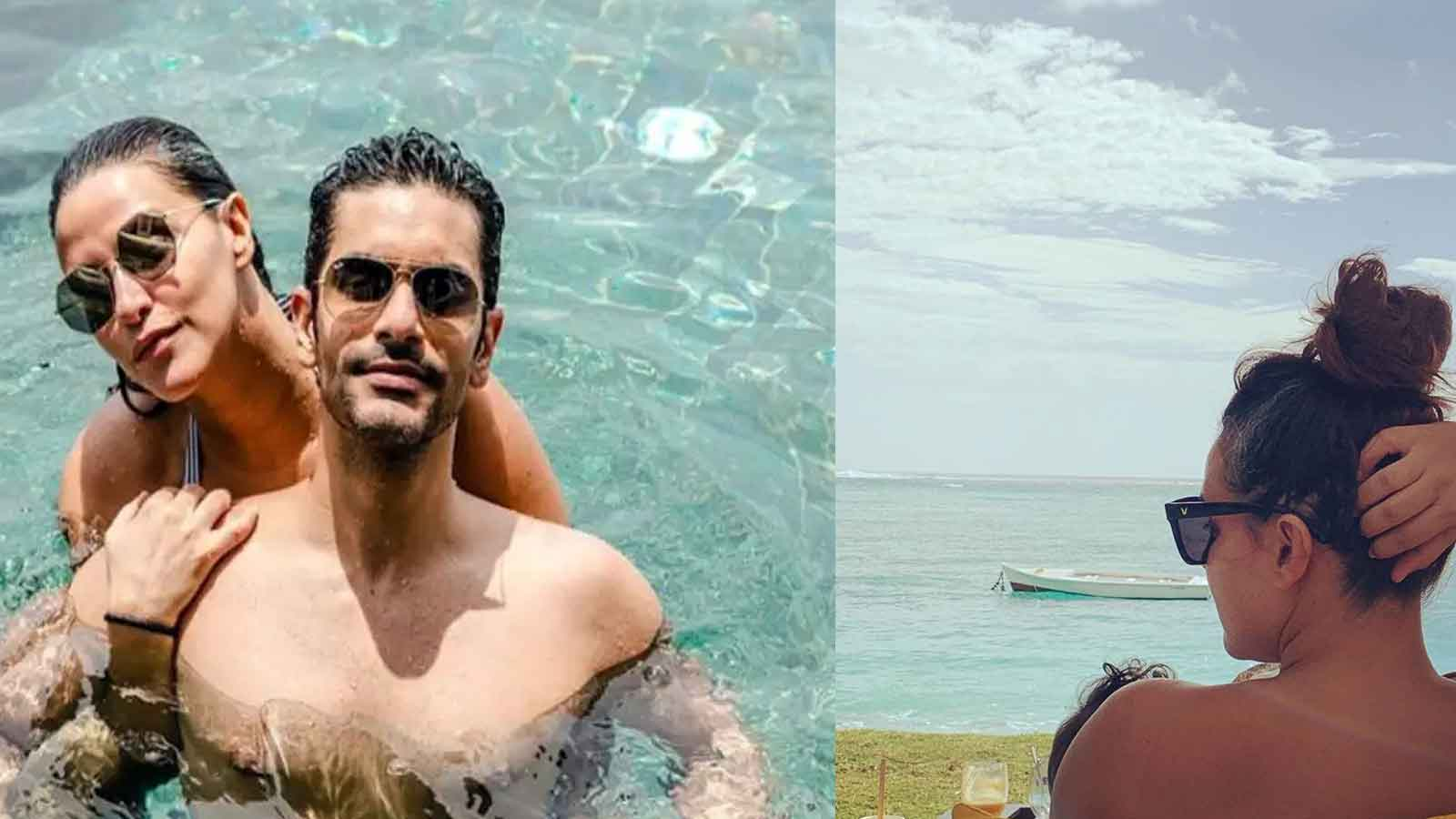 Neha Dhupia and Angad Bedi ring in first wedding anniversary in Mauritius