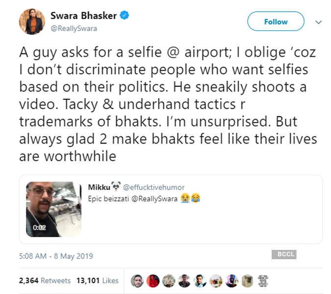 Swara Bhasker blasts a Modi fan for sneakily recording a selfie video