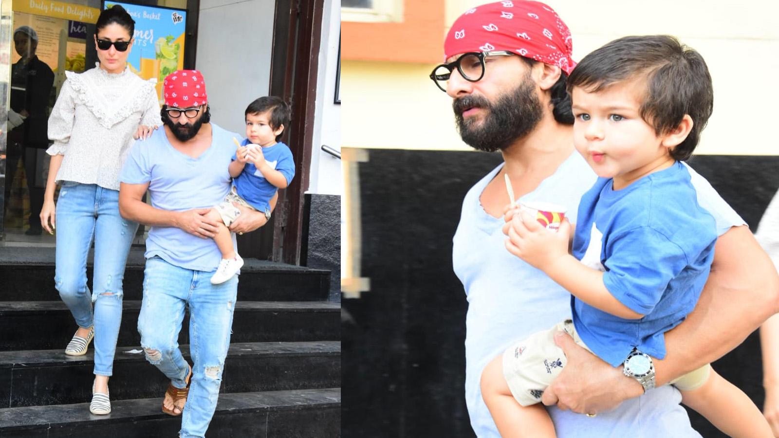 Taimur Ali Khan enjoys ice cream on outing with parents Kareena Kapoor Khan and Saif Ali Khan